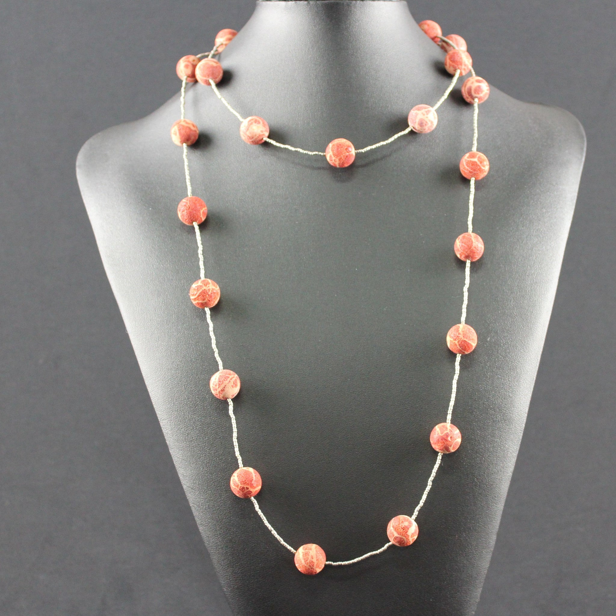 Susan M - Soft coral beads and Thai silver Necklace