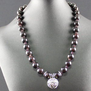 Susan M - Garnet and Bali silver Necklace
