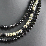 Susan M - Triple strand Onyx and Dalmation Jasper Necklace