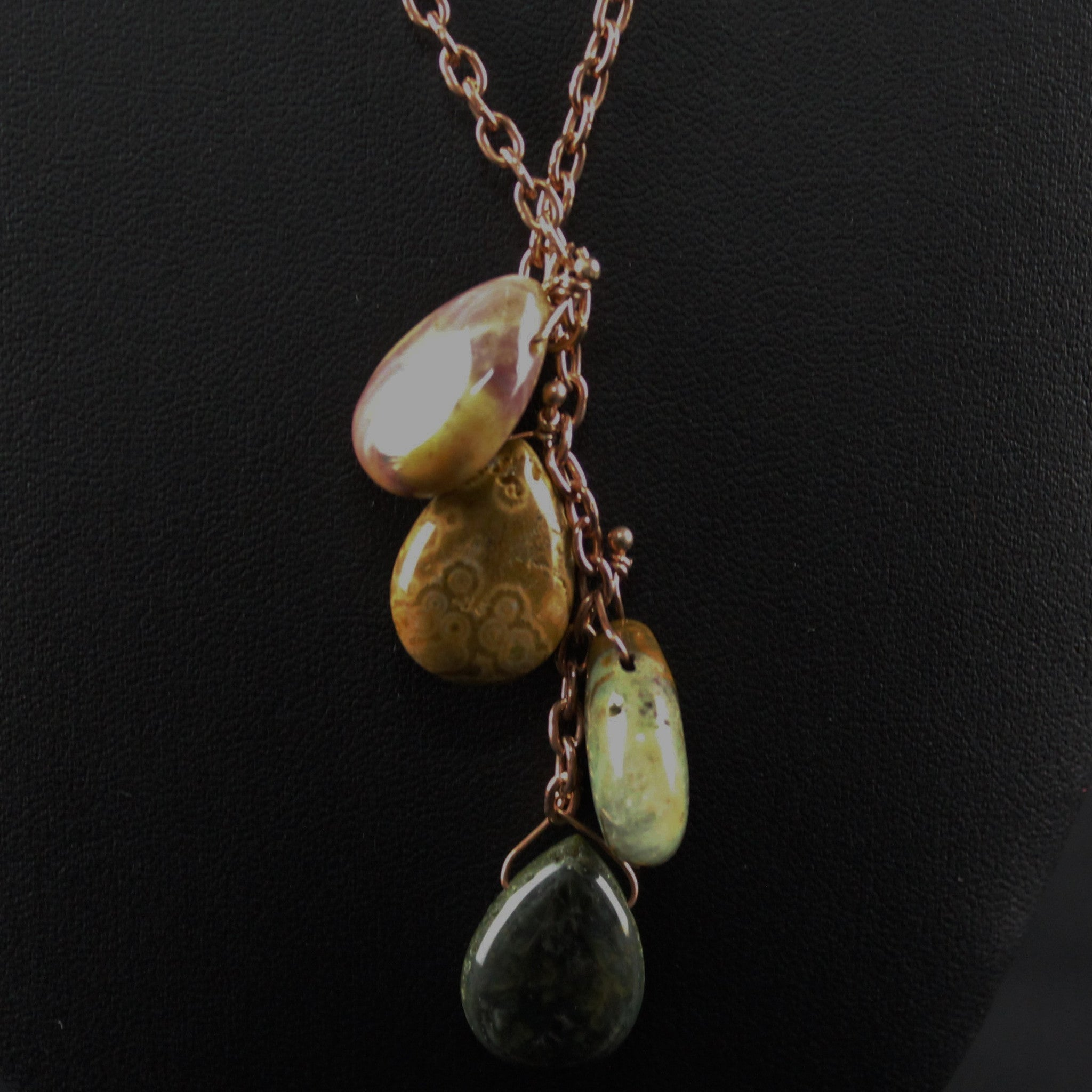 Susan M - Rose gold chain with Ocean Jasper Necklace