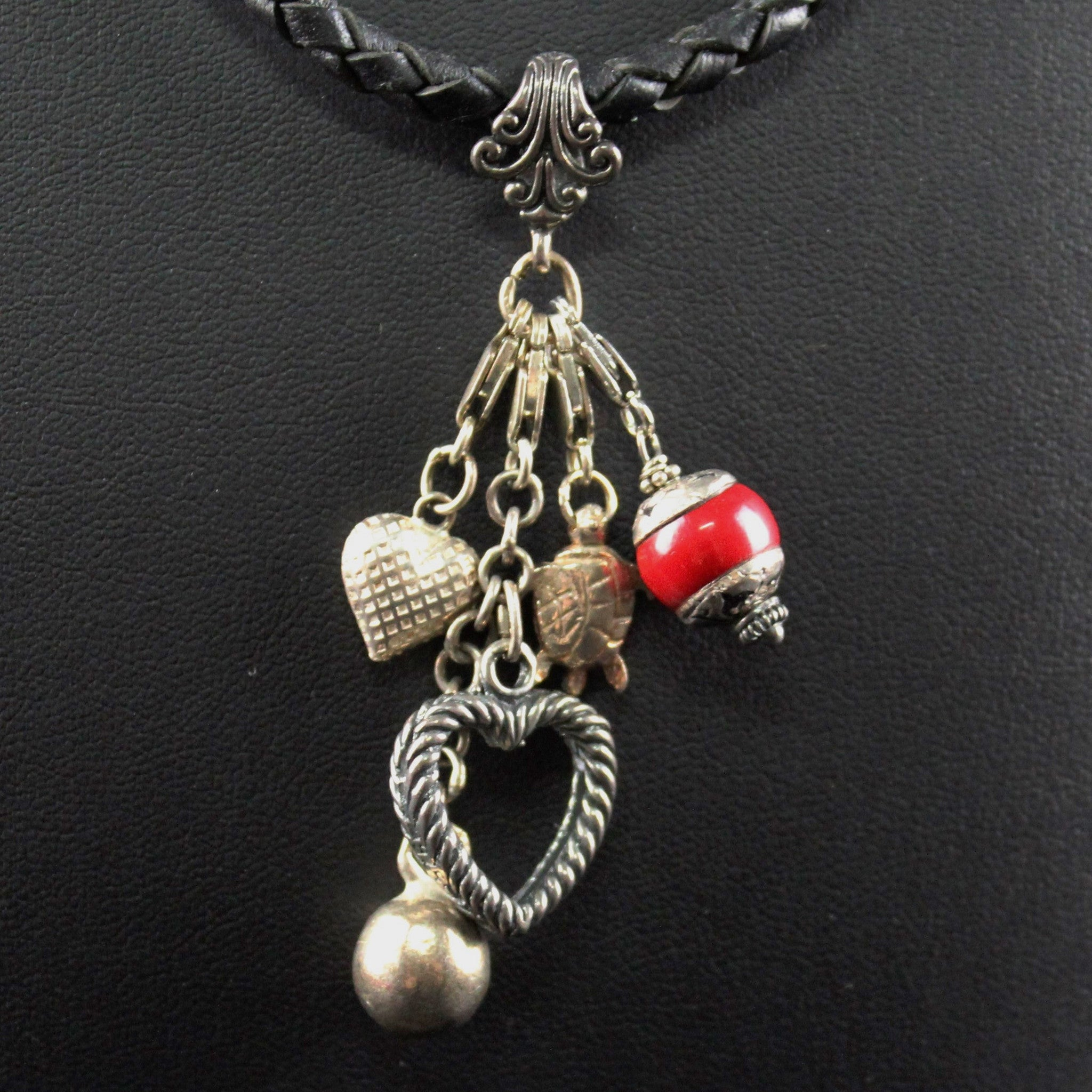 Susan M - Leather and charms necklace