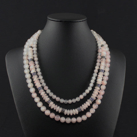 Susan M - Multi Strand Rose Quartz Necklace