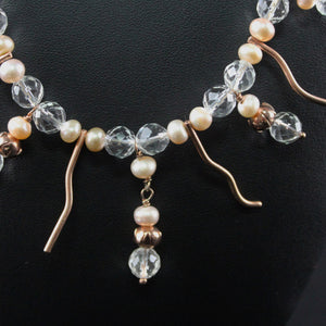 Susan M - Rose gold, Crystal and Pearl Necklace