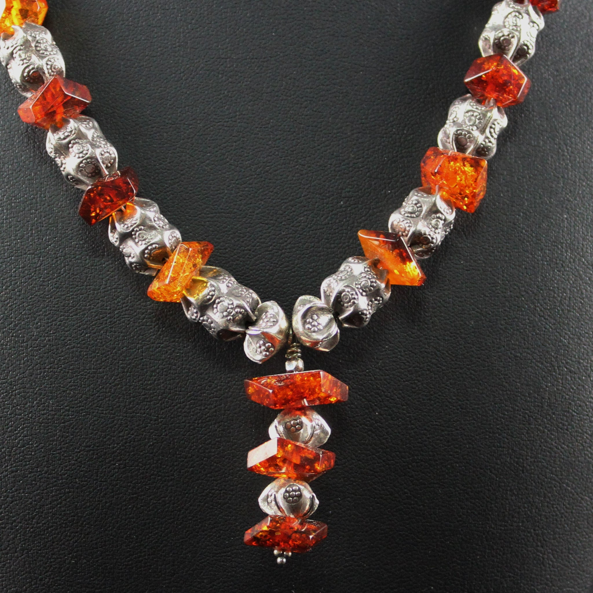 Susan M - Amber and Thai silver neckace