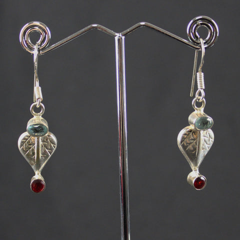 Leaf shaped sterling silver earrings