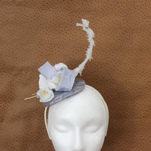 Pale Blue and White Fascinator
