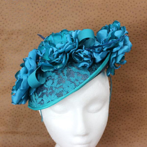 Teal and lace fascinator