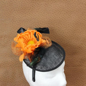 Black and orange fascinator