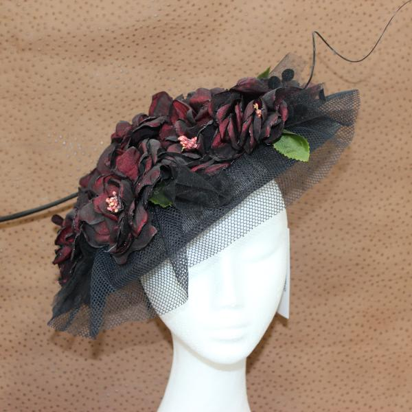 Burgundy flower/black fascinator