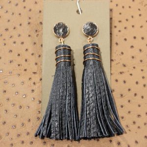 Cow Hide and Leather Tassel Earrings