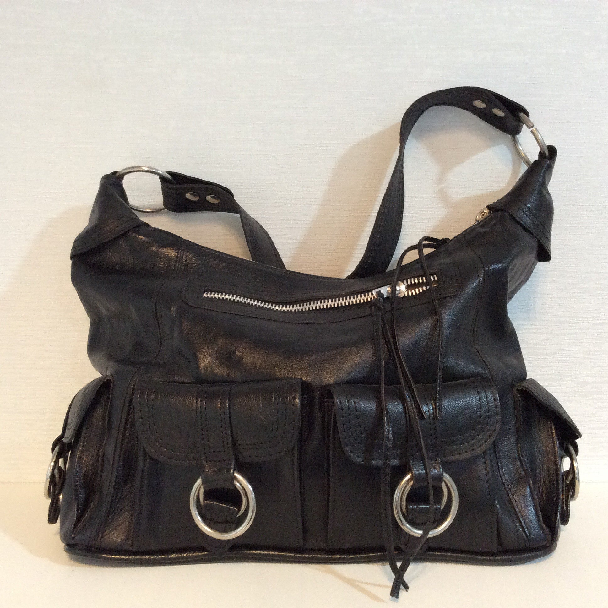 Black Moroccan Bag with Rings