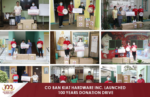 Sharing the advocacies of many charitable institutions and medical bodies, committed to the social welfare, Co Ban Kiat Hardware Inc. launched  100 donation drive with a core mission to send aid in upgrading the facilities of 100 partner beneficiary groups from different cities across the country for ten months. This campaign was also part of the centennial celebration of Co Ban Kiat Hardware Inc.