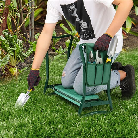 garden seat with carry on pouch for tools