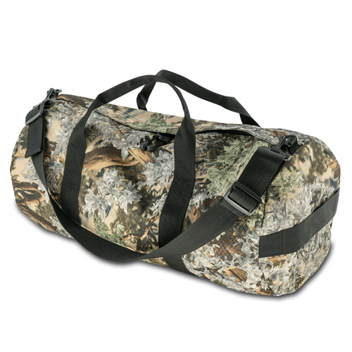 Studio photo of King's Camo Desert Shadow print SD1224DLX Standard Duffle by Northstar Bags. 44 liter duffel with diamond ripstop fabric, thick webbing straps, and a large format metal zipper. Guaranteed for life.
