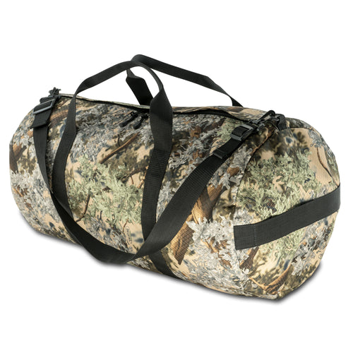 Studio photo of King's Camo Desert Shadow print SD1430DLX Standard Duffle by Northstar Bags. 75 liter duffel with diamond ripstop fabric, thick webbing straps, and a large format metal zipper. Guaranteed for life.
