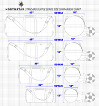 Load image into Gallery viewer, Line drawing comparison of the Northstar Standard Duffle Series bag sizes. SD1224, SD1430, SD1640, and SD1842.