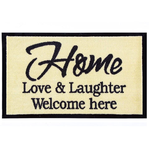 "Smudsmåtte ""Home, love & laughter. Welcome here"""