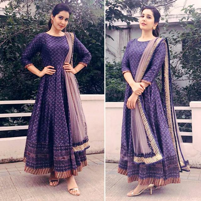 Purple Colored Printed Festive Wear Salwar Suit