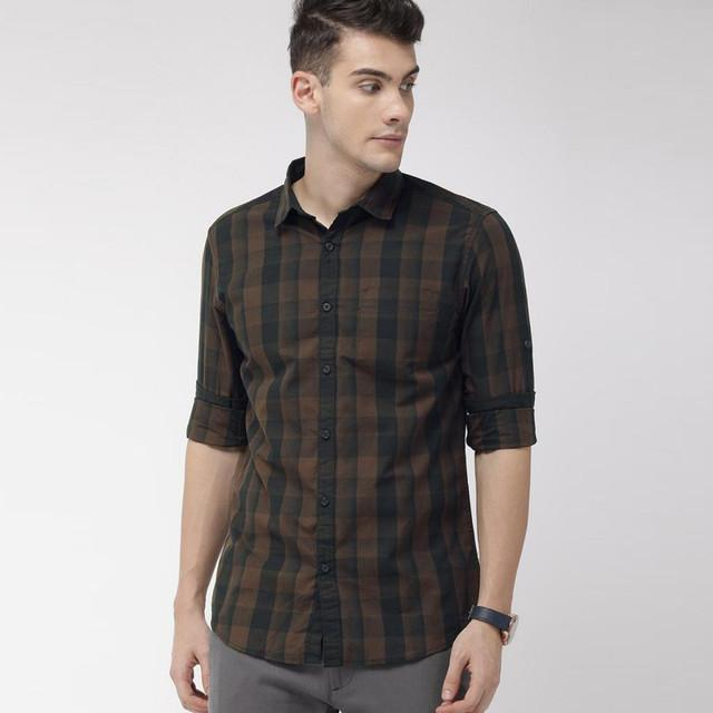 Buy shirt - Brown Color Checks Printed Shirt For Men