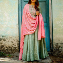 Load image into Gallery viewer, Beautiful Green Color Embroidered Suit With Dupatta