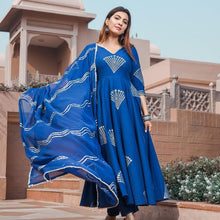 Load image into Gallery viewer, Blue Color Fancy Rayon Dress