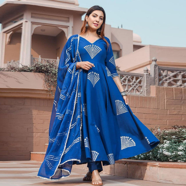 Blue Color Fancy Rayon Dress