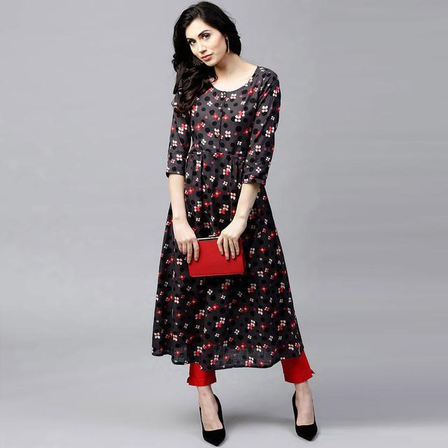 Black Color Designer Printed Kurti