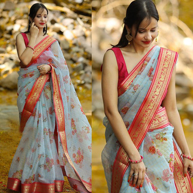 Beautiful Light Blue Color Festive Wear Saree