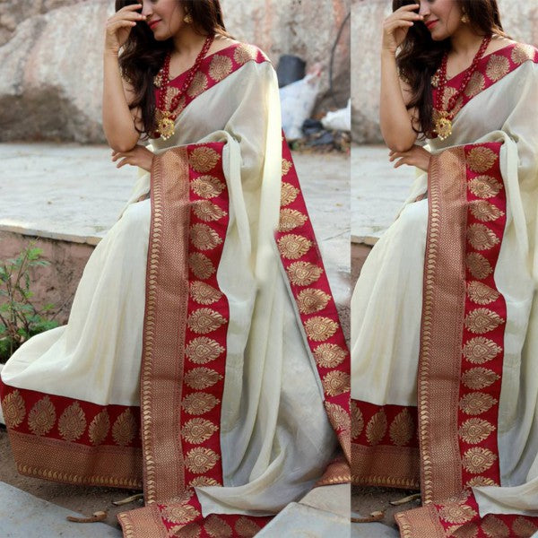 White Color Lace Work Fancy Saree