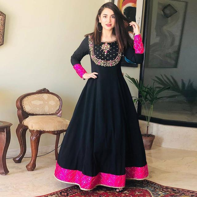 Festive Wear Embroidered Black Cotton Kurti