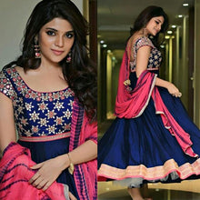 Load image into Gallery viewer, Embroidered Blue Colored Designer Anarkali Suit
