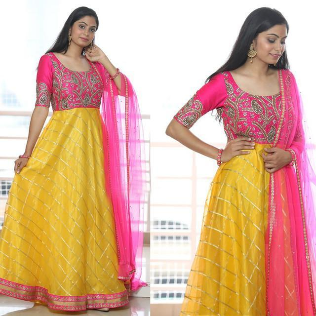 Pink And Yellow Color Designer Suit