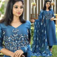 Load image into Gallery viewer, Designer Blue Color Cotton Suit With Dupatta