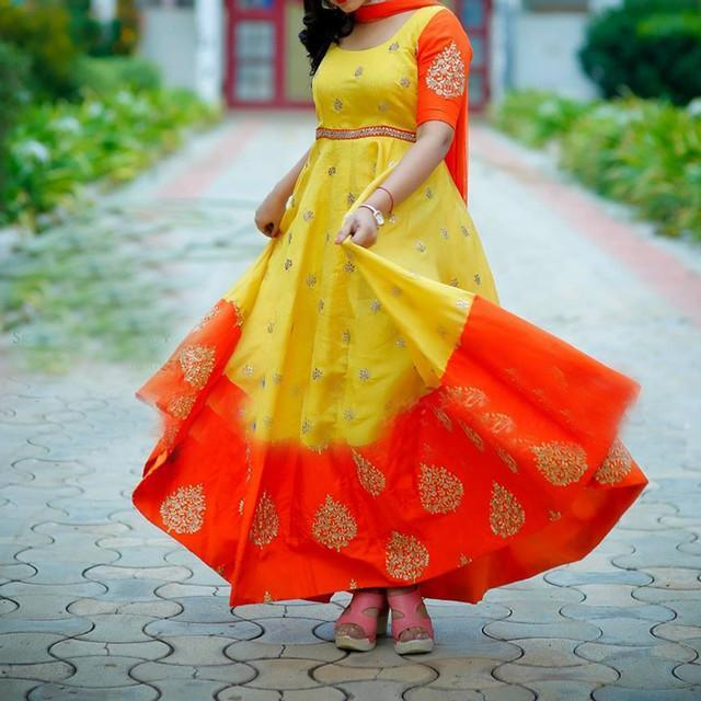 Beautiful Yellow Orange Embroidered Suit