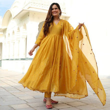 Load image into Gallery viewer, Glammrous Yellow Mustard Color Embroidered Suit With Dupatta
