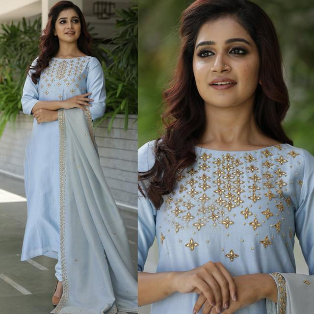 Traditional Sky Blue Color Embroidered Suit With Dupatta
