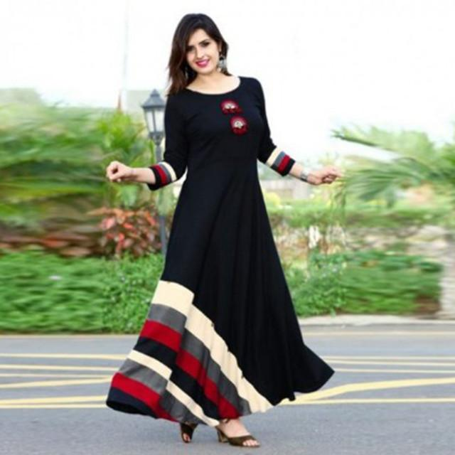 Black Color Long Cotton Dress