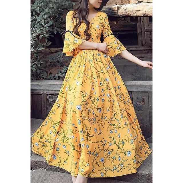 Yellow Color Printed Long Kurti
