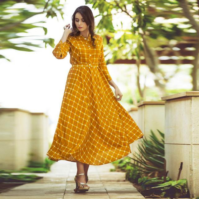 Beautiful Mustard Yellow Colored Printed Kurti