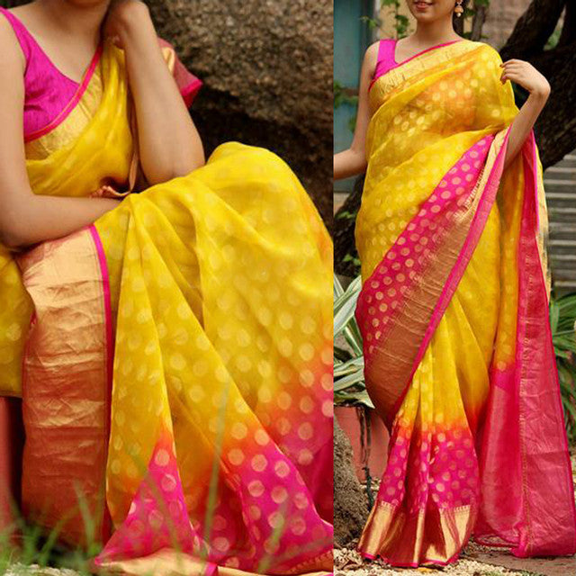 Beautiful Mustard Pink Color Party Wear Saree