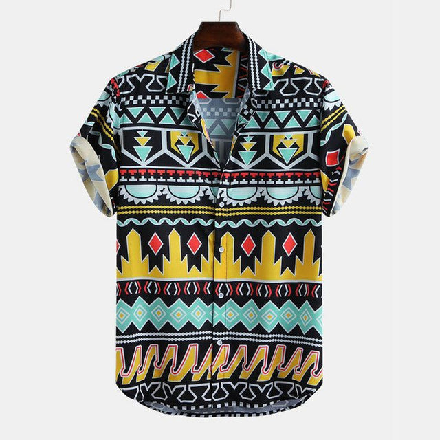 men's wear - Multi Color Lining Printed Half Sleeves Shirt