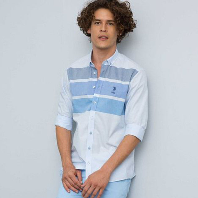 Sky Blue Color Chest Stripe Shirt