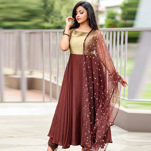 Maroon Gold Party Wear Dress With Dupatta
