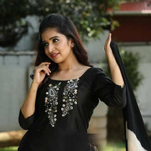 Load image into Gallery viewer, Embroidered Black Color Suit With Dupatta