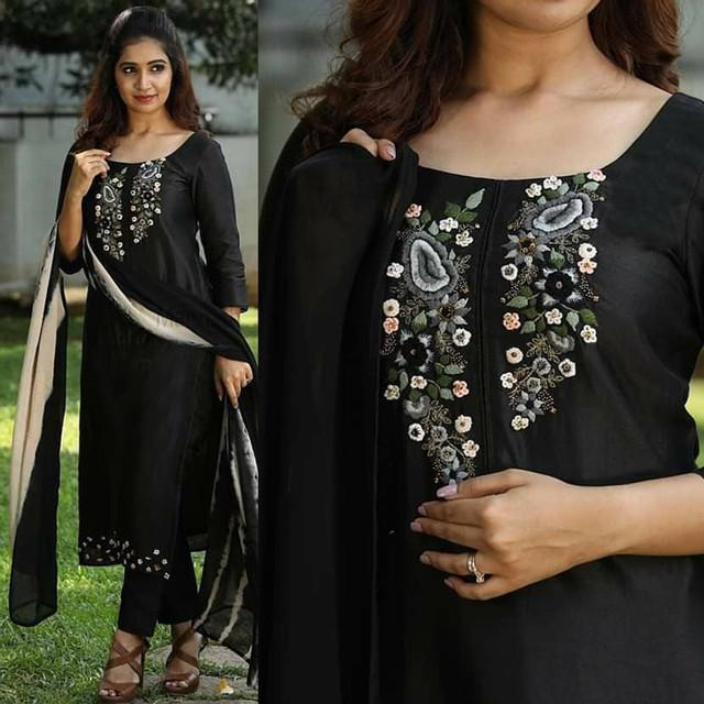 Embroidered Black Color Suit With Dupatta