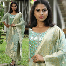 Load image into Gallery viewer, Dark Sea Green Color Embroidered Suit With Dupatta