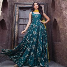 Load image into Gallery viewer, Turquoise Color Party Wear Long Cotton Dress