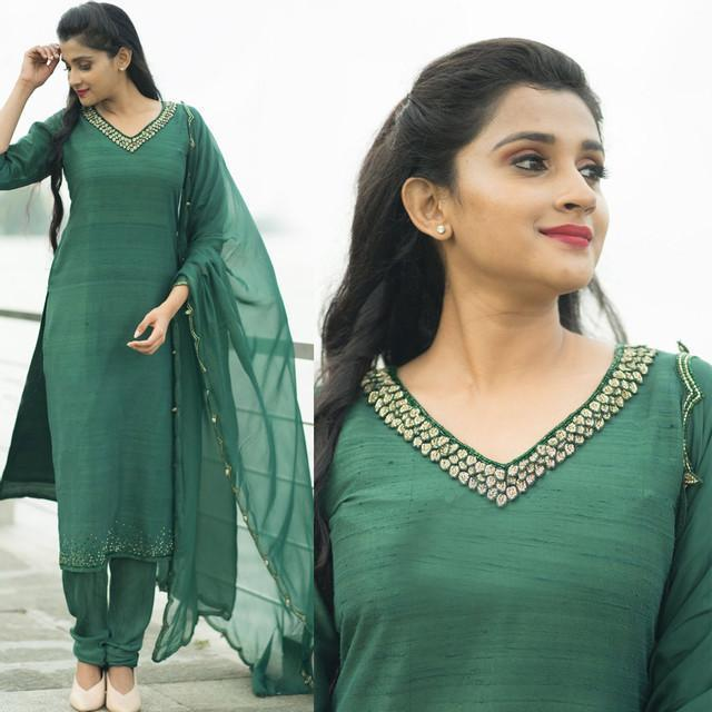 Green Color Party Wear Suit With Dupatta