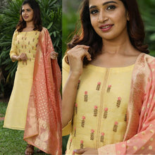 Load image into Gallery viewer, Straight Yellow Color Embroidered Suit With Dupatta