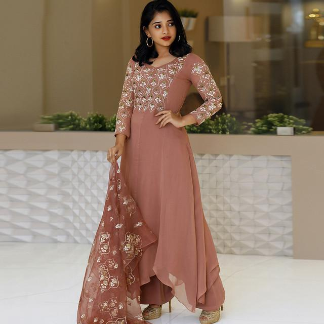 Embroidered Rosy Brown Anarkali Suit With Banarasi Dupatta